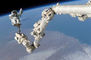 STS Steve Robinson on Canadarm