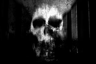 Spooky blurry image of a skull against a black background.