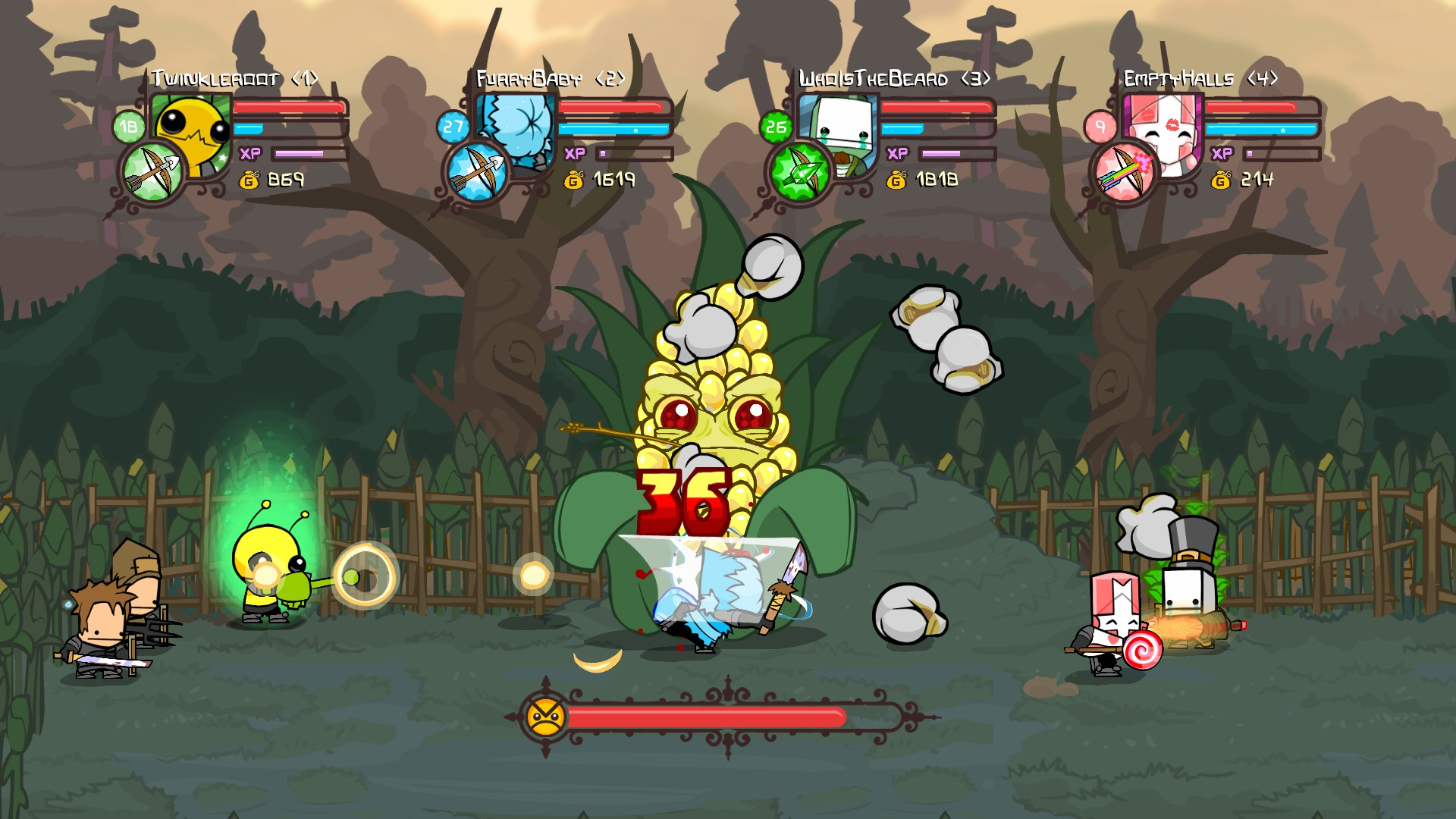 A screengrab from the game Castle Crashers
