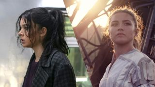 Kate Bishop (as played by Hailee Steinfeld) and Yelena Belova (as played by Florence Pugh)
