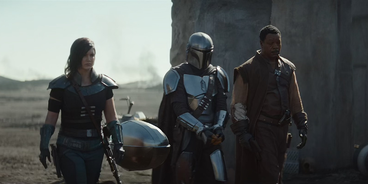 Gina Carano, Pedro Pascal, and Carl Weathers in The Mandalorian