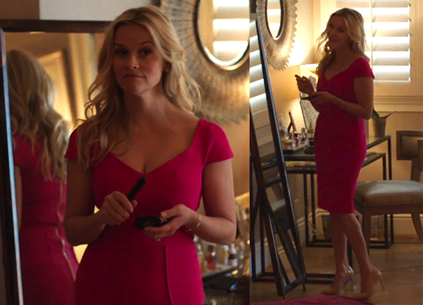 Big Little Lies Madeline wearing pink opening night play Casson dress Reese Witherspoon
