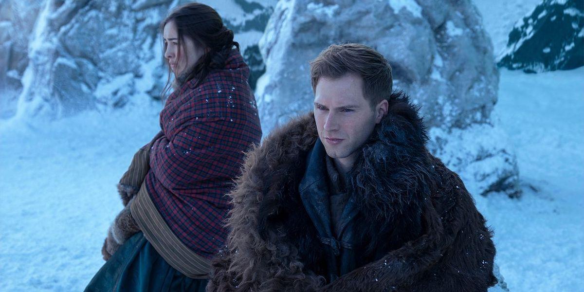 Danielle Galligan and Calahan Skogman in the snow as Matthias and Nina in Shadow and Bone