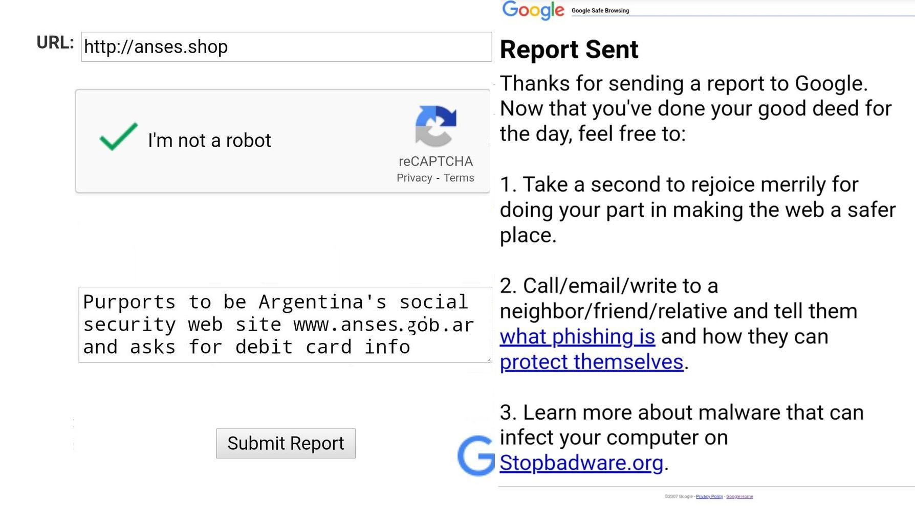 Gmail phishing report