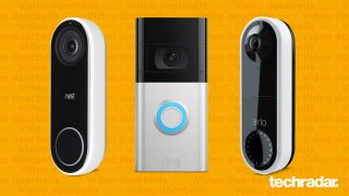 The Arlo Video Doorbell, Ring Video Doorbell 4 and the Google Nest Hello - our pick of the best video doorbells you can buy right now - on a yello background