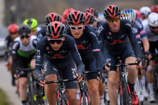 LA CALMETTE FRANCE FEBRUARY 04 Egan Arley Bernal Gomez of Colombia and Team INEOS Grenadiers Geraint Thomas of United Kingdom and Team INEOS Grenadiers Salvatore Puccio of Italy and Team INEOS Grenadiers during the 51st toile de Bessges Tour du Gard 2021 Stage 2 a 154km stage from SaintGenis to La Calmette EDB2020 on February 04 2021 in La Calmette France Photo by Luc ClaessenGetty Images