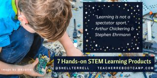 Photo illustration: 7 Hands-on STEM Learning Products, with boy playing with electronics.