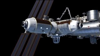 An artist's view of Axiom Space's private habitat planned for the International Space Station, where a passenger trip costs $55 million.