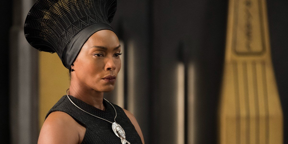 Angela Bassett being stoic as Queen Ramonda in Black Panther