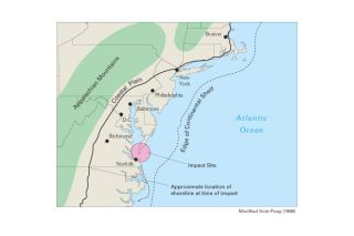 Chesapeake Bay Crater Impact Site Map