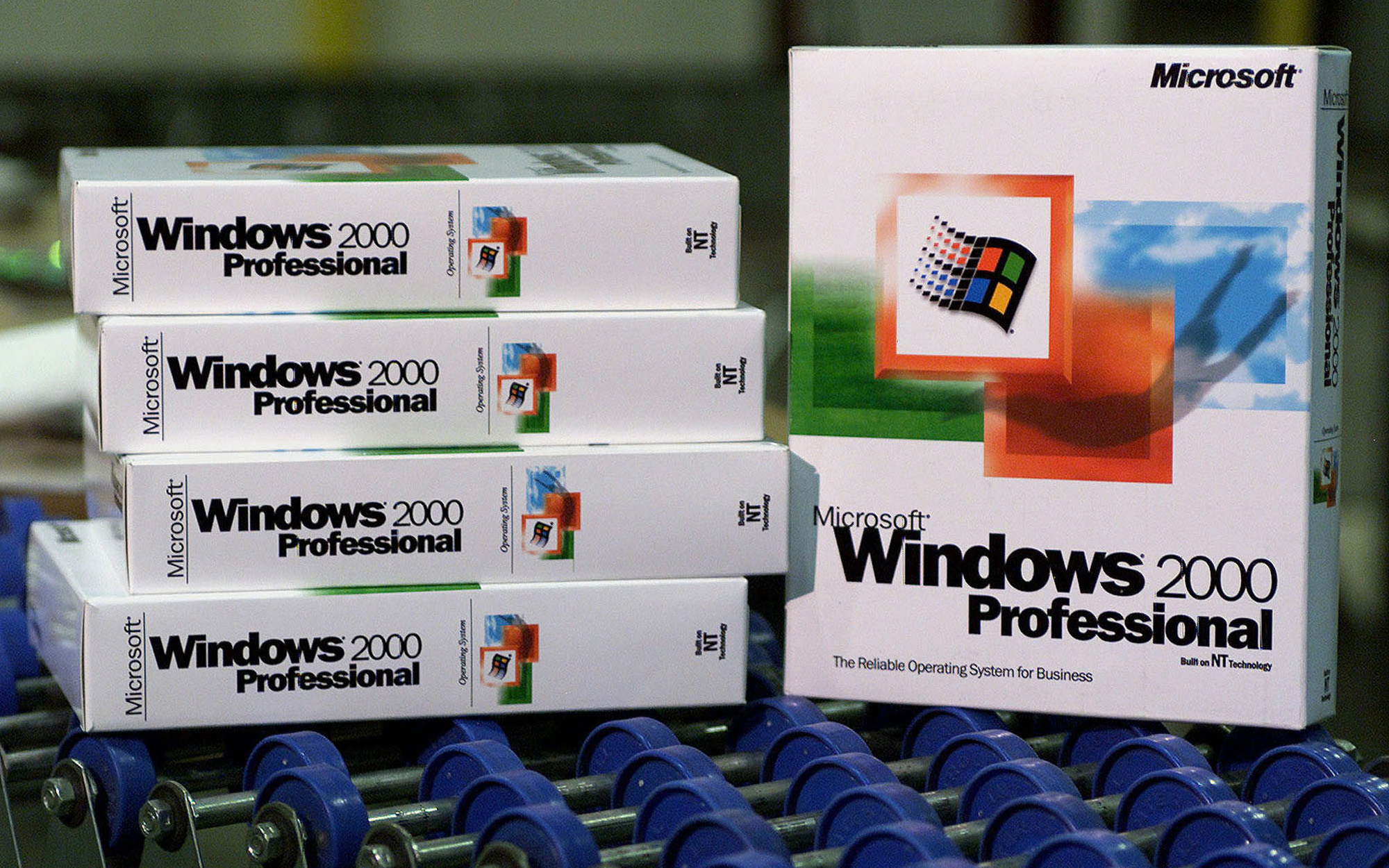 Windows 2000 boxes rolling off the line