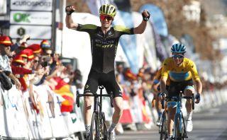 Cycling: Andalucía Tour / Vuelta Andalucía / 4 Stage / 4 Etapa / LLEGADA/ ARRIVAL/ SPRINT/ CELEBRACIÓN CELEBRATION/ HAIG, Jack (AUS)/ FUGLSANG, Jakob (DEN) MAILLOT AMARILLO LÍDER/ YELLOW LEADER JERSEY/ Villanueva Mesía - Granada (125 Km) 21-02-2020/ Cycling: Andalucía Tour / Vuelta Andalucía / 4 Stage / 4 Etapa / ©PHOTOGOMEZSPORT2020
