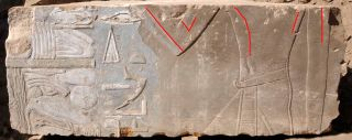 A stone block found on Egypt's Elephantine Island shows Queen Hatshepsut as a female (highlighted by red lines).