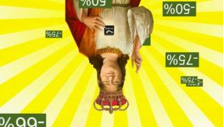 Gabe Newell giving discounts while upside-down.