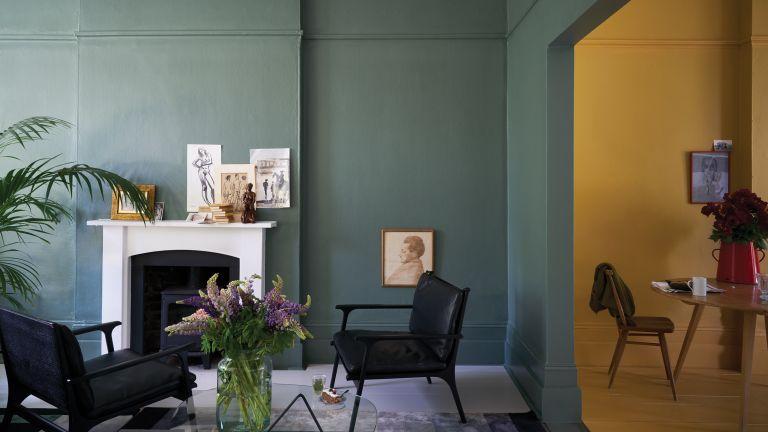 Living room paint color ideas by Farrow & Ball using Wimborne White No.239 Estate Emulsion Green Smoke No.47 Estate Emulsion & Modern Eggshell India Yellow No.66 Modern Emulsion & Modern Eggshell
