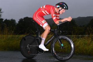 Denmark's Mathias Norsgaard competes in the under-23 individual time trial at the 2019 UCI Road World Championships