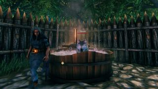 A wolf named 'Geralt' is hanging out in the Valheim hot tub.