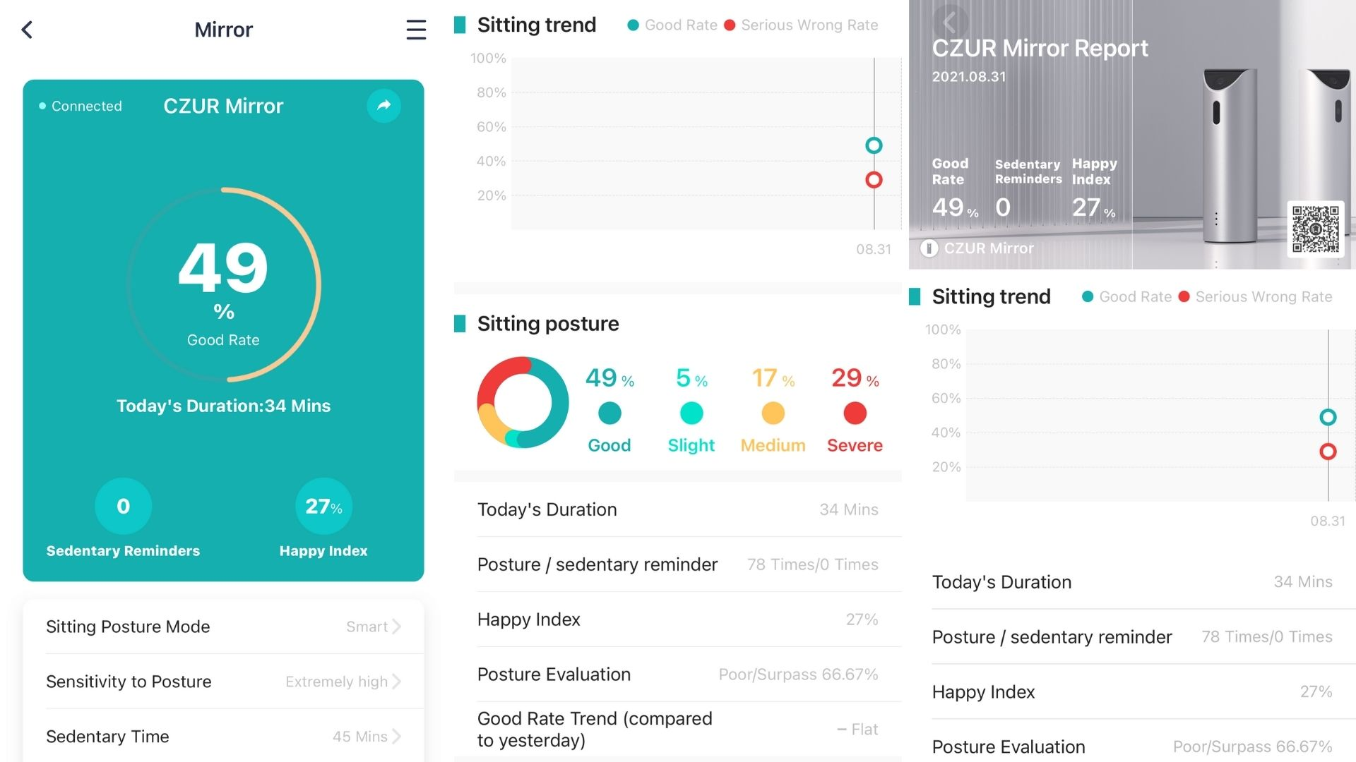 CZUR Mirror Smart AI Posture Corrector app