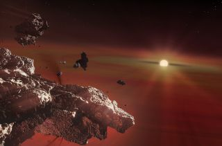 A white dwarf star sucks in the rocky remains of an Earth-like planet.