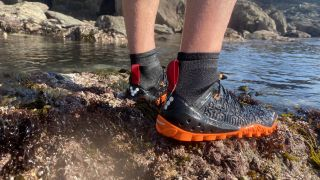 A pair of water shoes standing by a lake