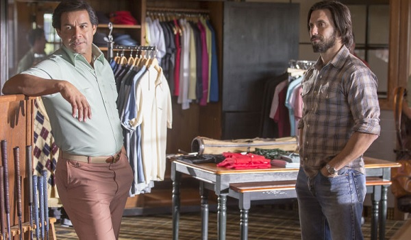 This Is Us Milo Ventimiglia Jack smiling in a clothes shop
