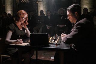 "Anya Taylor-Joy as Beth Harmon and Marcin Dorocinski as Vasily Borgov in ""The Queen's Gambit"" on Netflix."
