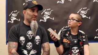 A picture of Scott Ian being interviewed by Little Punk People