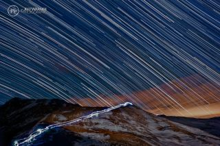 Milky Way Time-Lapse Composite with Hikers Loveland Pass