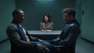 Anthony Mackie, Sebastian Stan, and Amy Aquino in The Falcon and the Winter Soldier