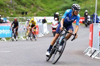 Enric Mas (Movistar) attacks on stage 18 of the Tour de France