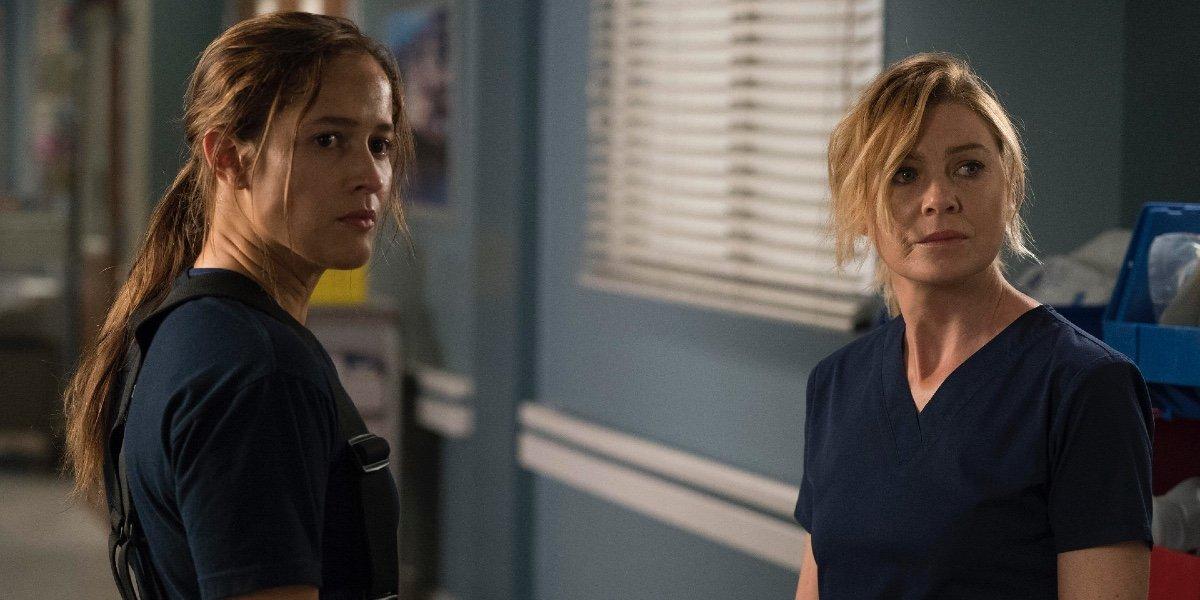 Jaina Lee Ortiz and Ellen Pompeo in Grey's Anatomy