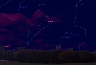 This sky map shows the location of brilliant planet Venus and the bright star Regulus in the pre-dawn sky on Oct. 3, 2012, as viewed from mid-northern latitudes.