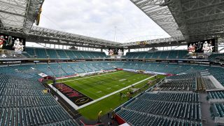 Hard Rock Stadium in Miami Gardens, Fla., just ahead of the 2021 NCAA college football national championship game between Alabama and Ohio State.