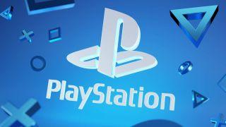PlayStation-Logo auf blauem Hintergrund, umgeben von PlayStation-Symbolen