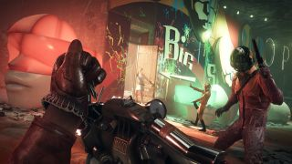 Three enemies stand in front of protagonist Colt as he loads up a nail gun.