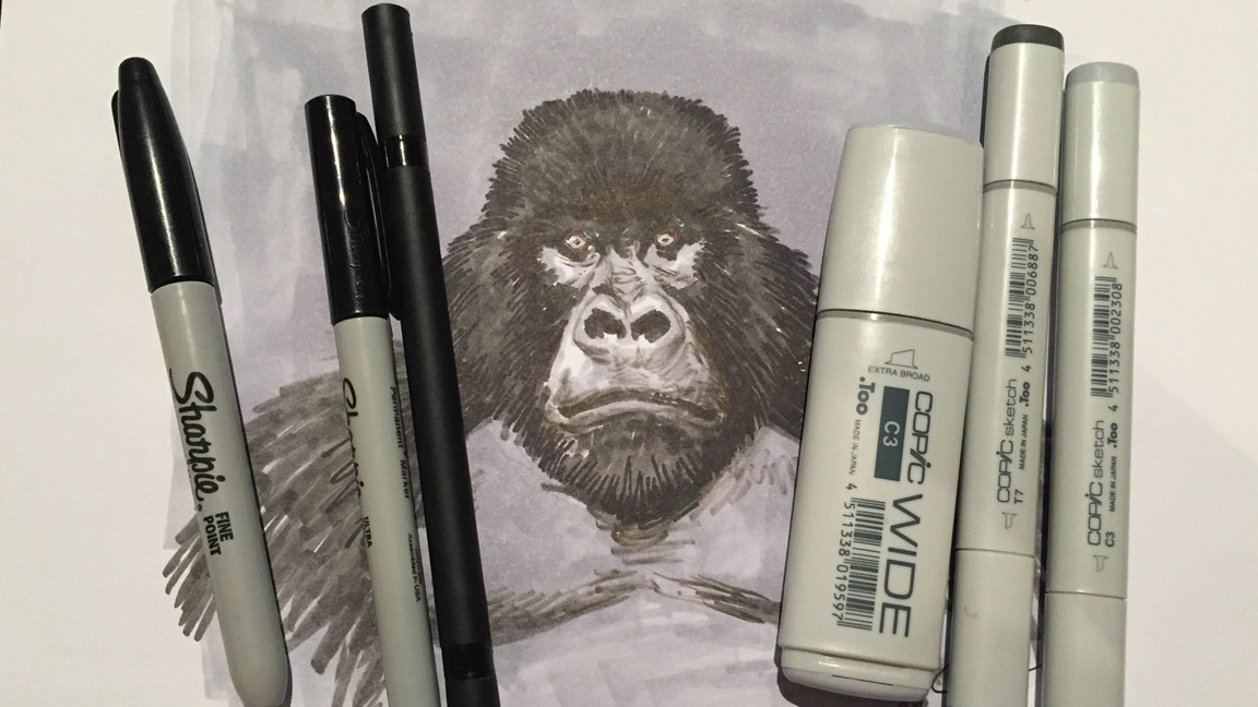 some markers with a picture of a gorilla