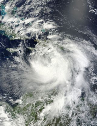 NASA's Aqua satellite captured this visible light view of Tropical Storm Isaac on Aug. 24, 2012.