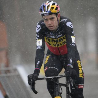 Belgian Wout Van Aert crosses the finish line to win the mens elite race of the Zilvermeercross cyclocross cycling event in Mol on Saturday 16 January 2021BELGA PHOTO YORICK JANSENS Photo by YORICK JANSENSBELGA MAGAFP via Getty Images