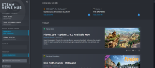 Steam News Hub interface