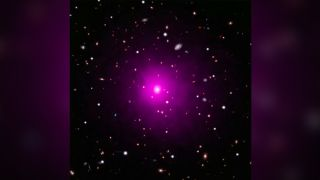 This composite image of the galaxy cluster Abell 2261 contains optical data from NASA's Hubble Space Telescope and Japan's Subaru Telescope showing galaxies in the cluster and in the background, and data from NASA's Chandra X-ray Observatory showing hot gas (colored pink) pervading the cluster. The middle of the image shows the large elliptical galaxy in the center of the cluster.