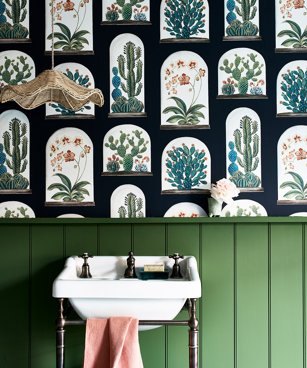 Vibrant green bathroom with botanical-inspired wallpaper | Homes & Gardens
