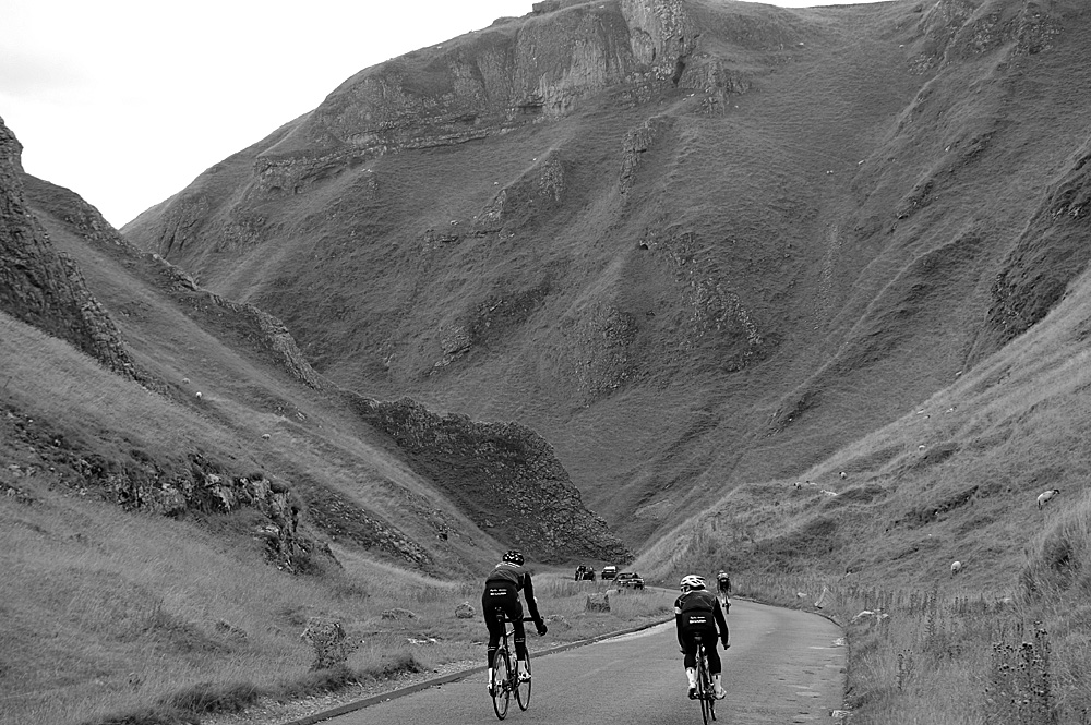 Descending Winnats Pass, Rapha Condor Sharp training in Peak District, August 2011