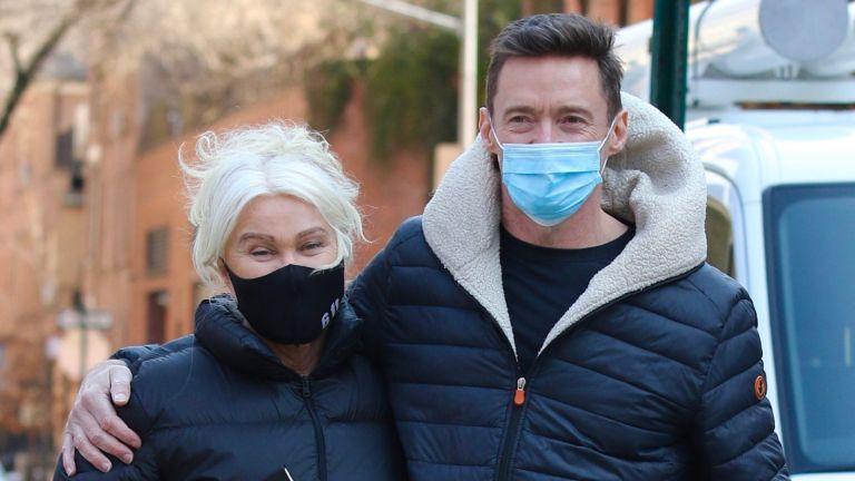 Hugh Jackman and Deborra-Lee Furness take their dog Dali for a walk on March 10, 2021 in New York City.