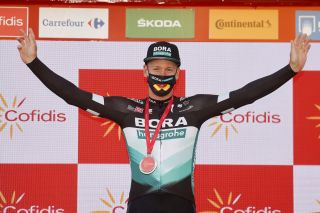 Bora-Hansgrohe's Pascal Ackermann won stage 9 of the 2020 Vuelta a España following the relegation of Sam Bennett (Deceuninck-QuickStep)