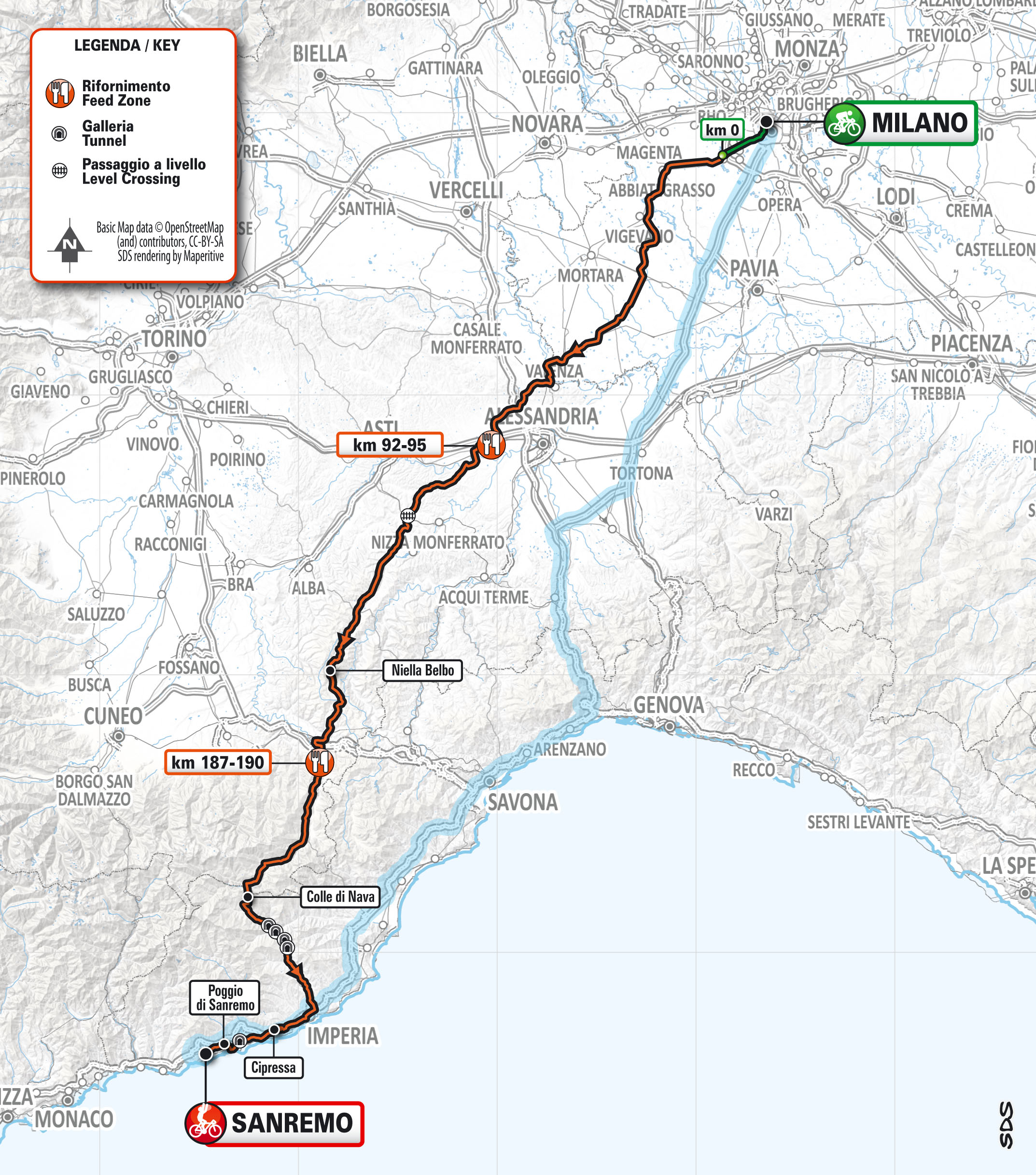 Milan-San Remo 2020 revised route