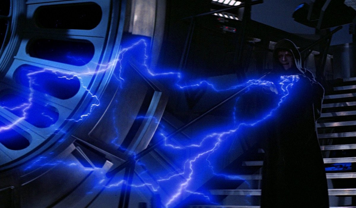 Emperor Palpatine shooting Force lightning in Return of the Jedi