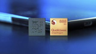 Qualcomm Snapdragon 888 processor front and back leaning on smartphone