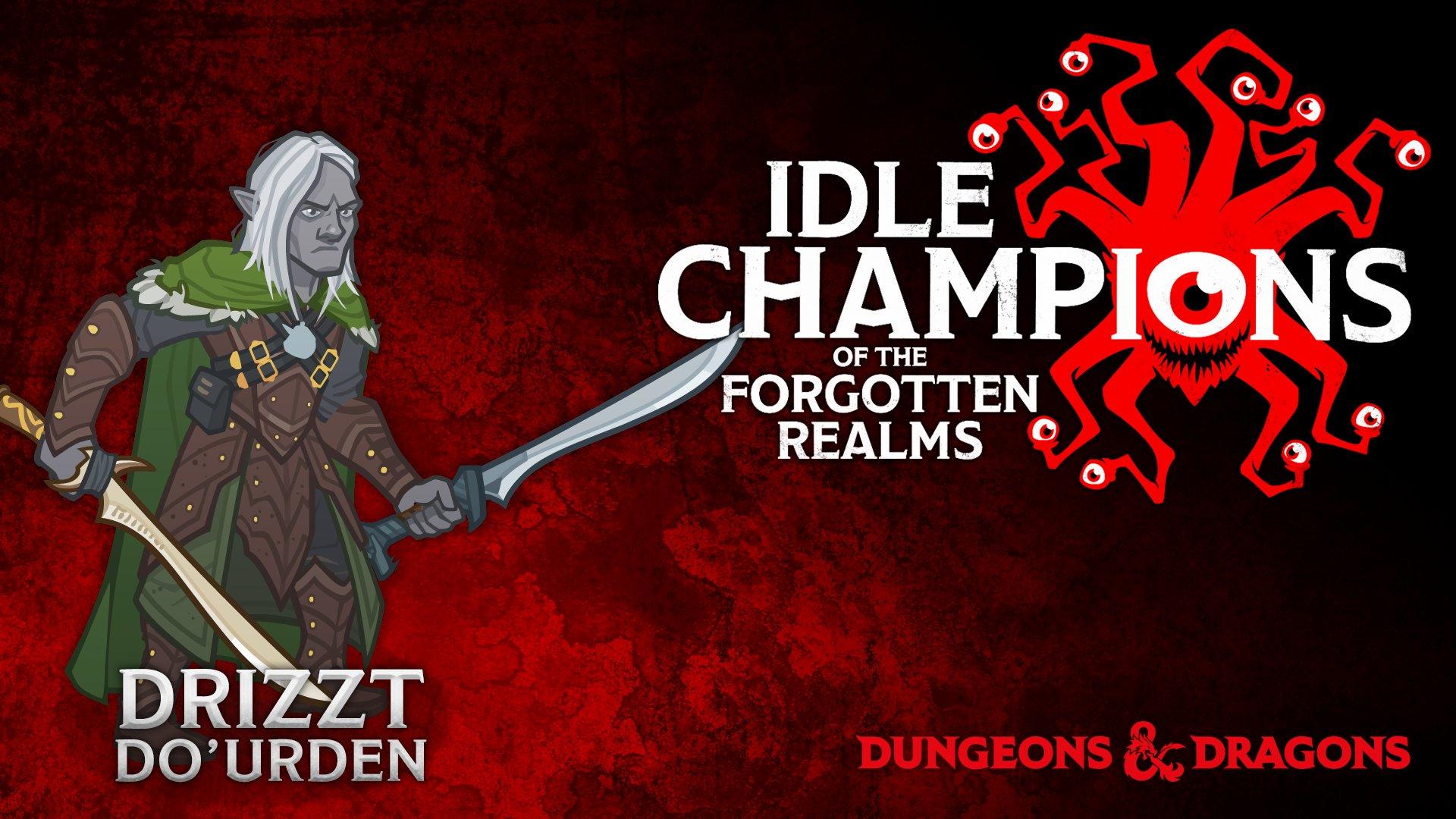 Drizzt, as a cartoon idle champion.