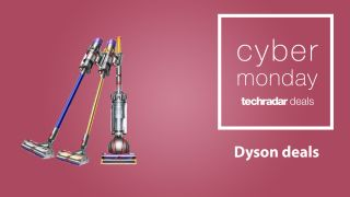 Dyson vacuums on a pink background