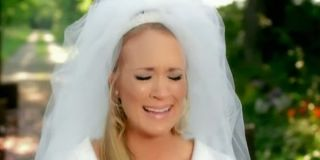 Carrie Underwood crying in the Just A Dream video